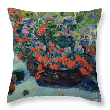 Bouquet Of Flowers Throw Pillow by Paul Gauguin