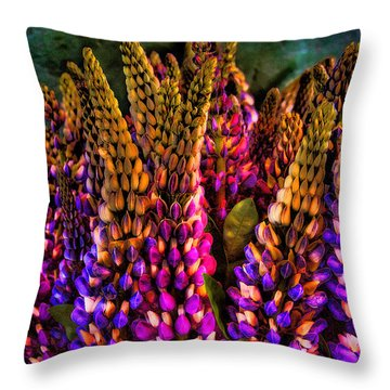 Bouquet Of Lupin Throw Pillow by David Patterson