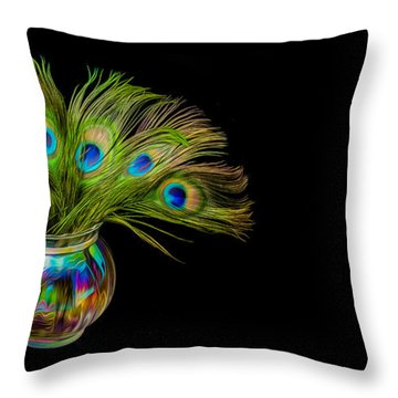 Bouquet Of Peacock Throw Pillow