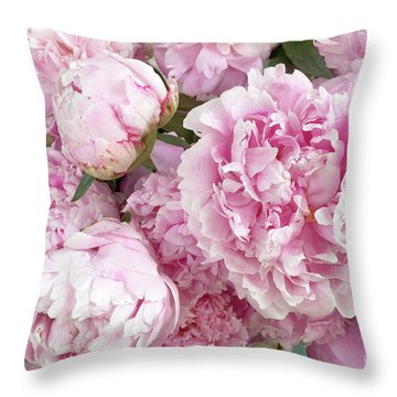 Bouquet Of Pink Peonies - Garden Peonies - Pink Shabby Chic Peony Prints Home Decor Throw Pillow