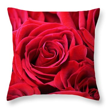 Bouquet Of Red Roses Throw Pillow