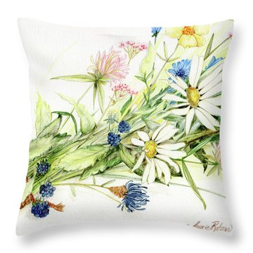Bouquet Of Wildflowers Throw Pillow