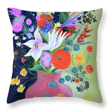 Bouquet With Dahlias And Blackberries Throw Pillow by Tatjana Krizmanic