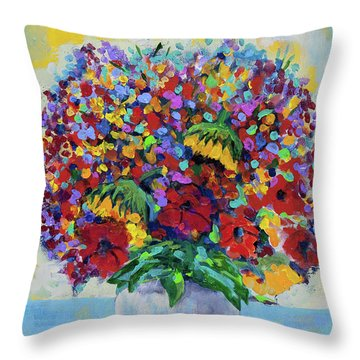 Bouquet With Two Sunflowers Throw Pillow