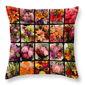 Bouquets Throw Pillow by Farol Tomson