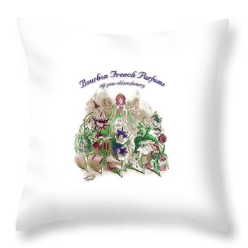 Throw Pillow featuring the digital art Bourbon French Perfume by ReInVintaged