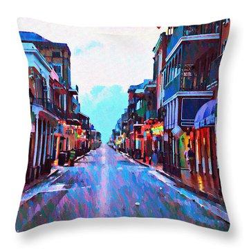 Bourbon Street At Dawn Throw Pillow by Bill Cannon