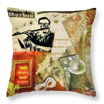 Bourbon Street Collage Throw Pillow