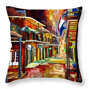Bourbon Street Lights Throw Pillow by Diane Millsap