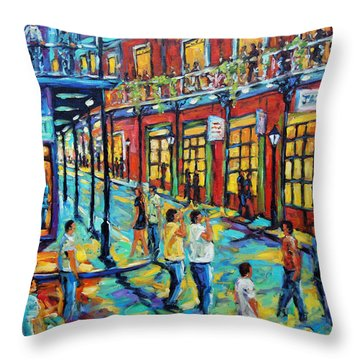 Bourbon Street New Orleans By Prankearts Throw Pillow by Richard T Pranke