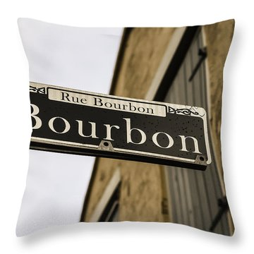 Bourbon Street, New Orleans, Louisiana Throw Pillow