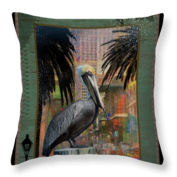 Bourbon Street Pelican Throw Pillow