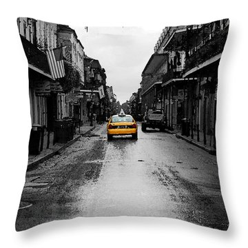 Bourbon Street Taxi French Quarter New Orleans Color Splash Black And White Watercolor Digital Art Throw Pillow by Shawn O'Brien