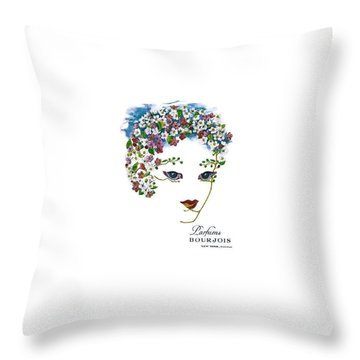 Throw Pillow featuring the digital art Bourjois by ReInVintaged