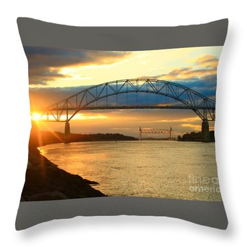 Bourne Bridge Sunset Throw Pillow