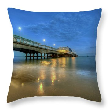 Throw Pillow featuring the photograph Bournemouth Pier Blue Hour by Yhun Suarez