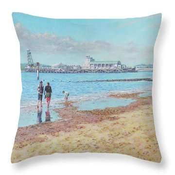 Bournemouth Pier Late Summer Morning Throw Pillow