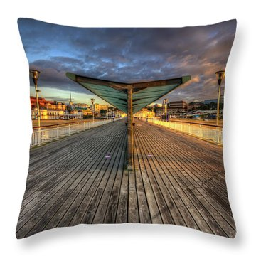Throw Pillow featuring the photograph Bournemouth Pier Sunrise 2.0 by Yhun Suarez