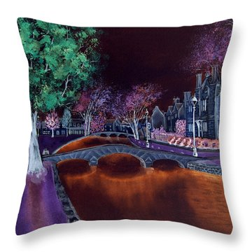 Throw Pillow featuring the digital art Bourton At Night II by Elizabeth Lock