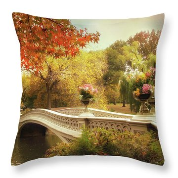 Throw Pillow featuring the photograph Bow Bridge Crossing by Jessica Jenney