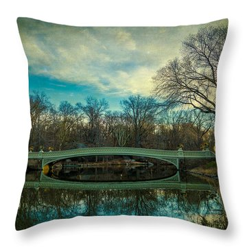 Throw Pillow featuring the photograph Bow Bridge Reflection by Chris Lord