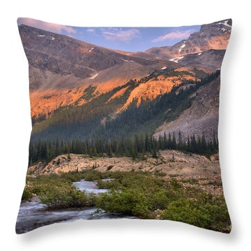 Bow Glacier Creek Sunset Throw Pillow