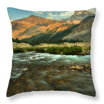 Bow Glacier Stream At Sunset Throw Pillow