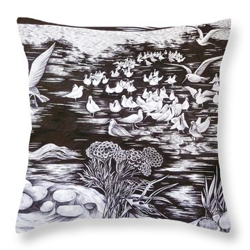 Throw Pillow featuring the drawing Bow River by Anna  Duyunova