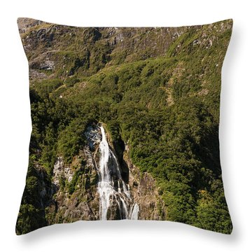 Throw Pillow featuring the photograph Bowen Falls Milford Sound by Gary Eason