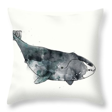 Bowhead Whale From Whales Chart Throw Pillow by Amy Hamilton