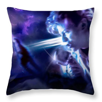 Throw Pillow featuring the photograph Bowie A Trip To The Stars by Glenn Feron