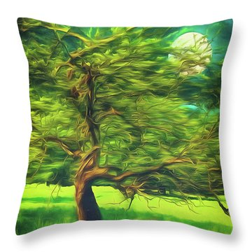 Bowing To The Moon Throw Pillow