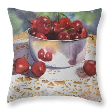 Bowl Of Cherries Throw Pillow by Kathy Nesseth