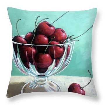 Bowl Of Cherries Throw Pillow