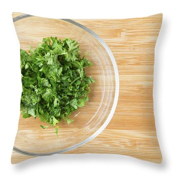 Bowl Of Chopped Parsley Throw Pillow