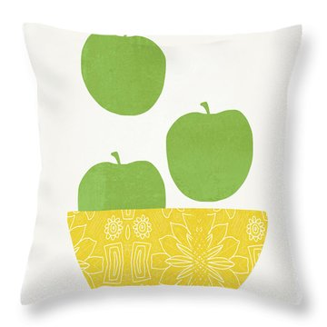 Bowl Of Green Apples- Art By Linda Woods Throw Pillow