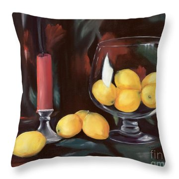Bowl Of Lemons Throw Pillow by Carol Sweetwood