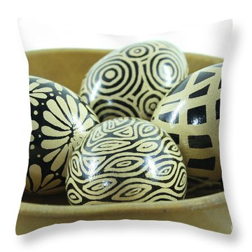 Bowl Of Modern Brown Pysanky Throw Pillow