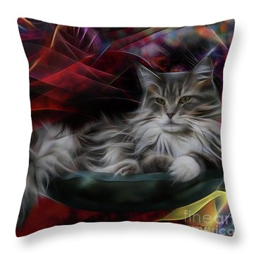 Bowl Of More Fur Throw Pillow