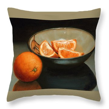 Bowl Of Oranges Throw Pillow