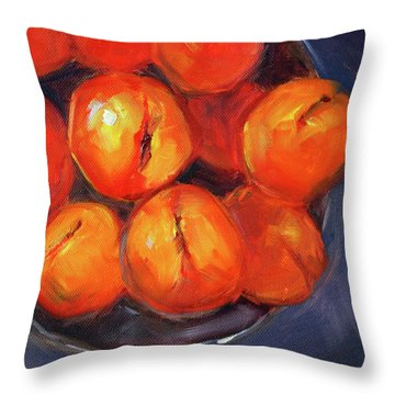 Throw Pillow featuring the painting Bowl Of Peaches Still Life by Nancy Merkle