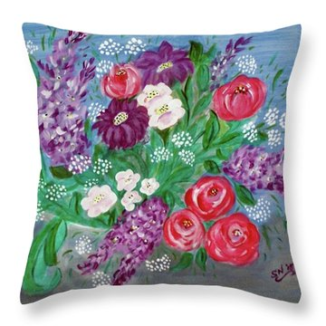 Throw Pillow featuring the painting Bowl Of Poisies by Sonya Nancy Capling-Bacle