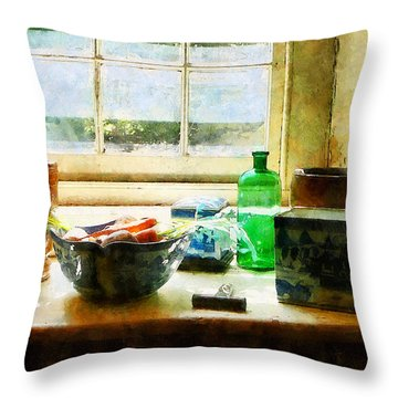 Bowl Of Vegetables And Green Bottle Throw Pillow
