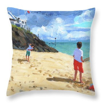 Bowling And Batting, Abersoch Throw Pillow