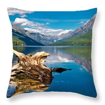 Bowman Lake 1, Glacier Nat'l Park Throw Pillow
