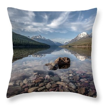 Throw Pillow featuring the photograph Bowman Lake Rocks by Aaron Aldrich