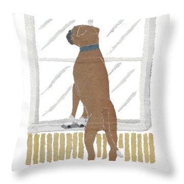 Boxer Dog Art Hand-torn Newspaper Collage Art Throw Pillow by Keiko Suzuki Bless Hue