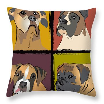 Boxer Dog Portraits Throw Pillow by Robyn Saunders