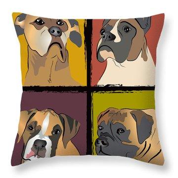 Boxer Dog Portraits Throw Pillow