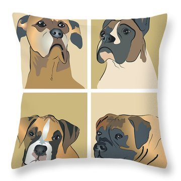 Boxer Dogs 4 Up Throw Pillow by Robyn Saunders